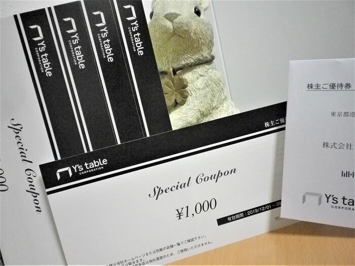 201908ワイズテーブルコーポレーション株主優待券