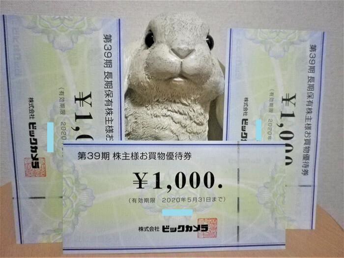 201908ビックカメラ株主優待券通常分と長期保有分