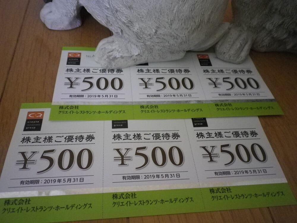 201808クリエイトレストランツHD株主優待券