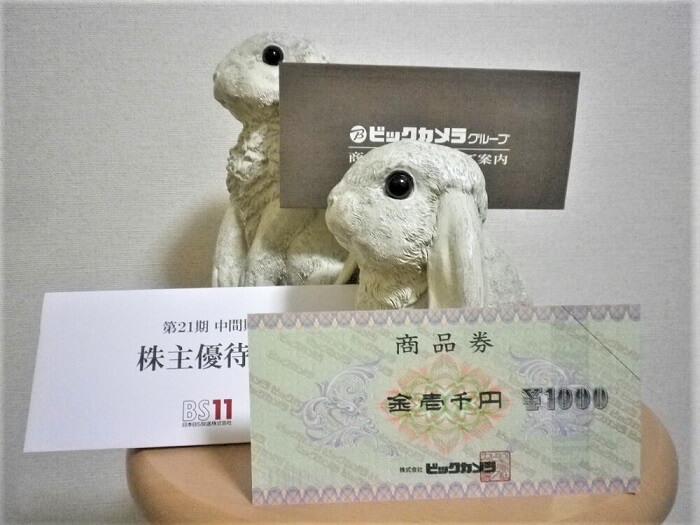 201902日本BS放送株主優待のビックカメラ商品券