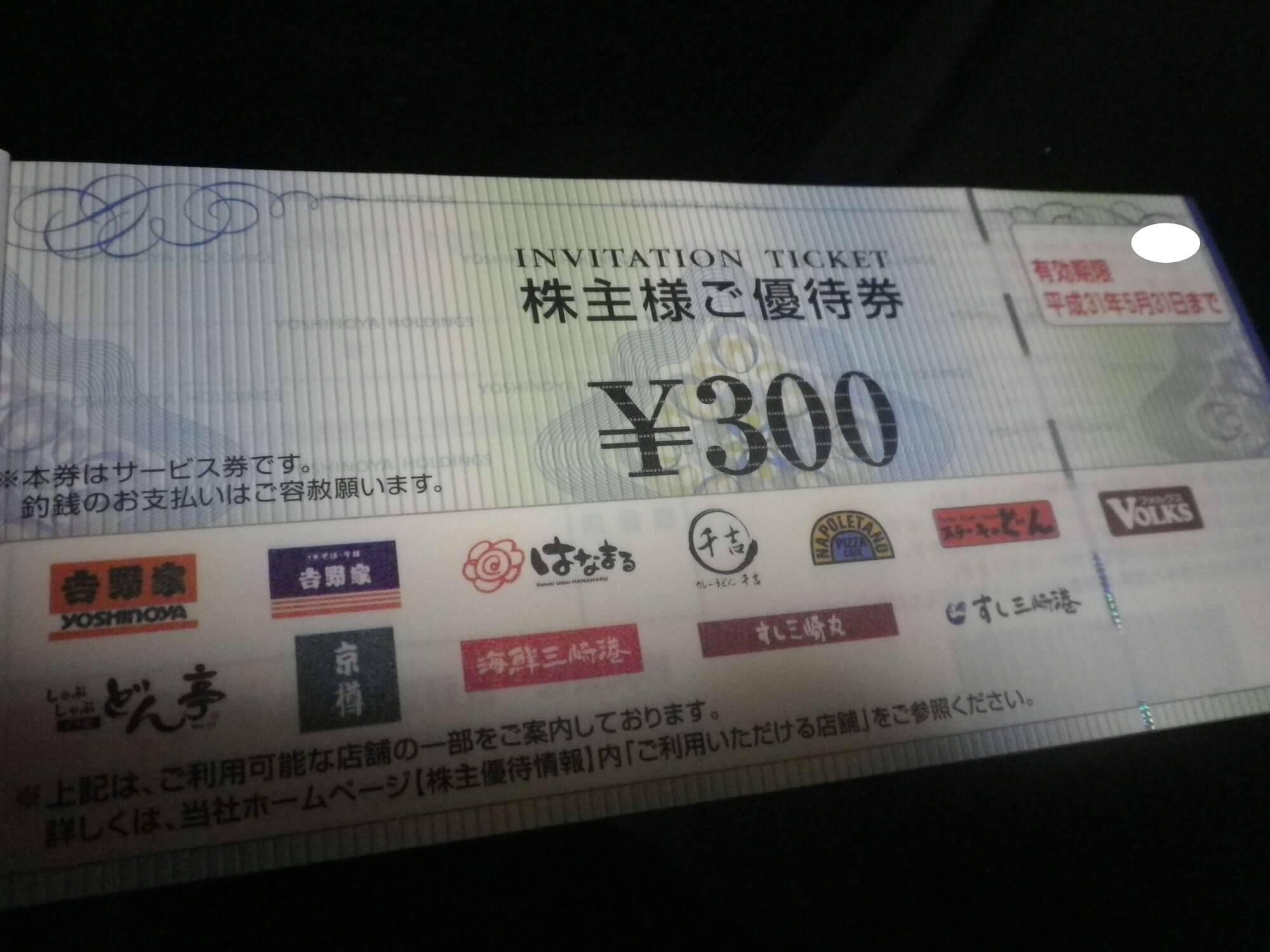 201802吉野家優待券画像