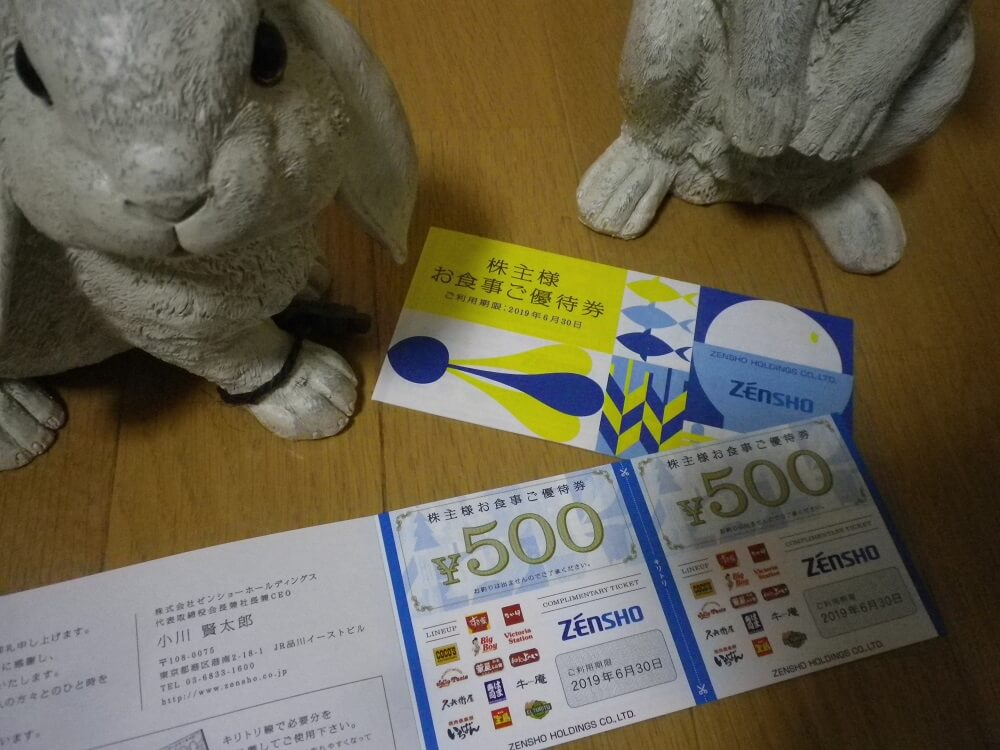 201809ゼンショー株主優待券
