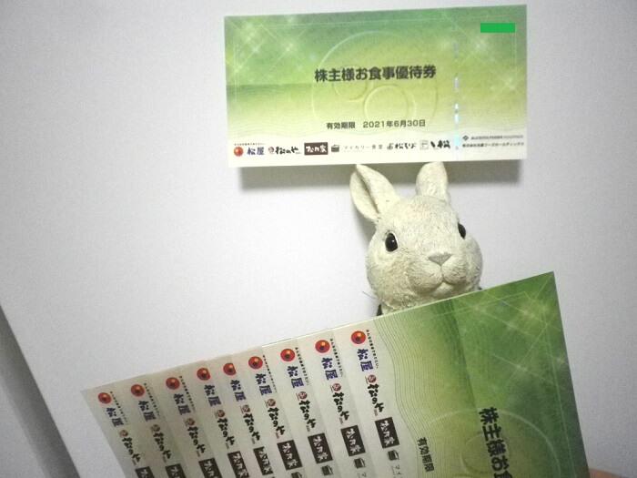 201903松屋フーズホールディングス株主優待券