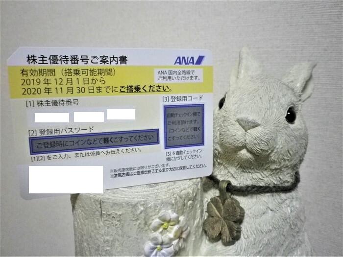 201909ANA株主優待番号ご案内書(国内線運賃割引券)