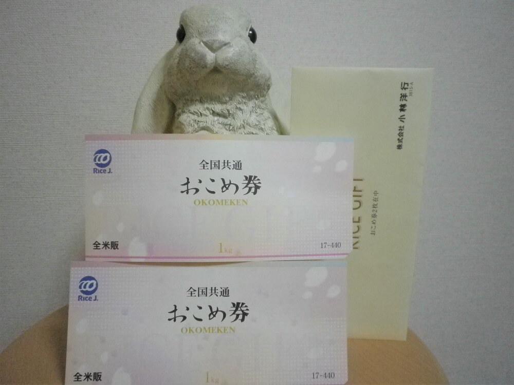201903東海運株主優待おこめ券