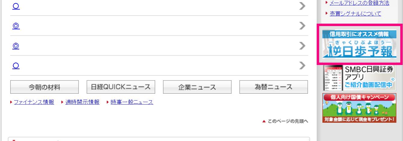 SMBC日興証券逆日歩予報遷移説明2