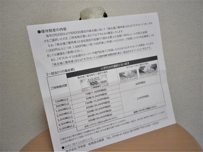 20190820平和堂株主優待案内