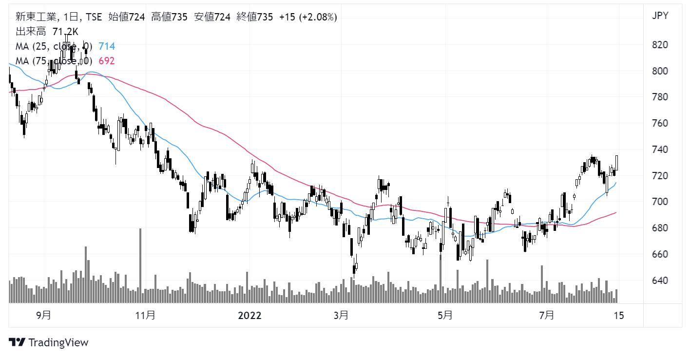 新東工業(6339)株価チャート|日足1年