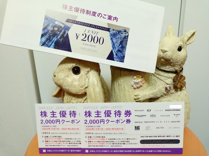 202008バロックジャパンリミテッド株主優待券(クーポン券)