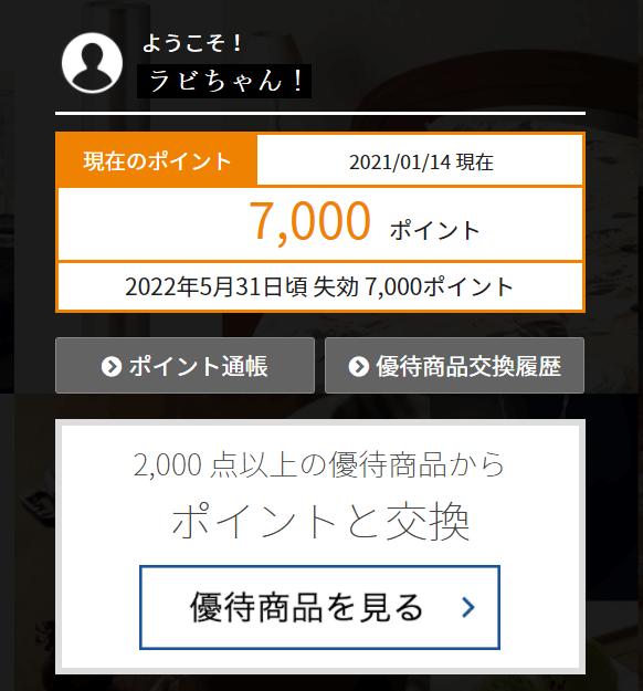 202010マネジメントソリューションズプレミアム優待倶楽部ポイント付与画面