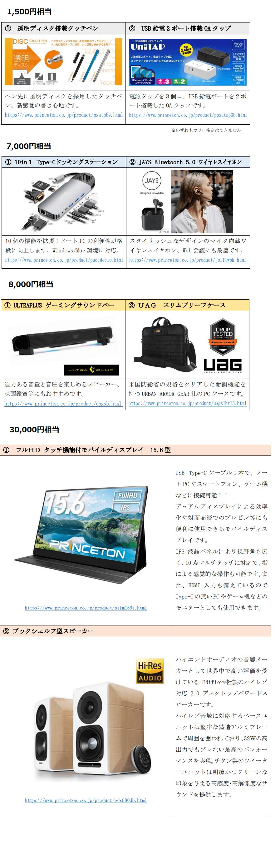 ミナトホールディングス株主優待プリンストン商品