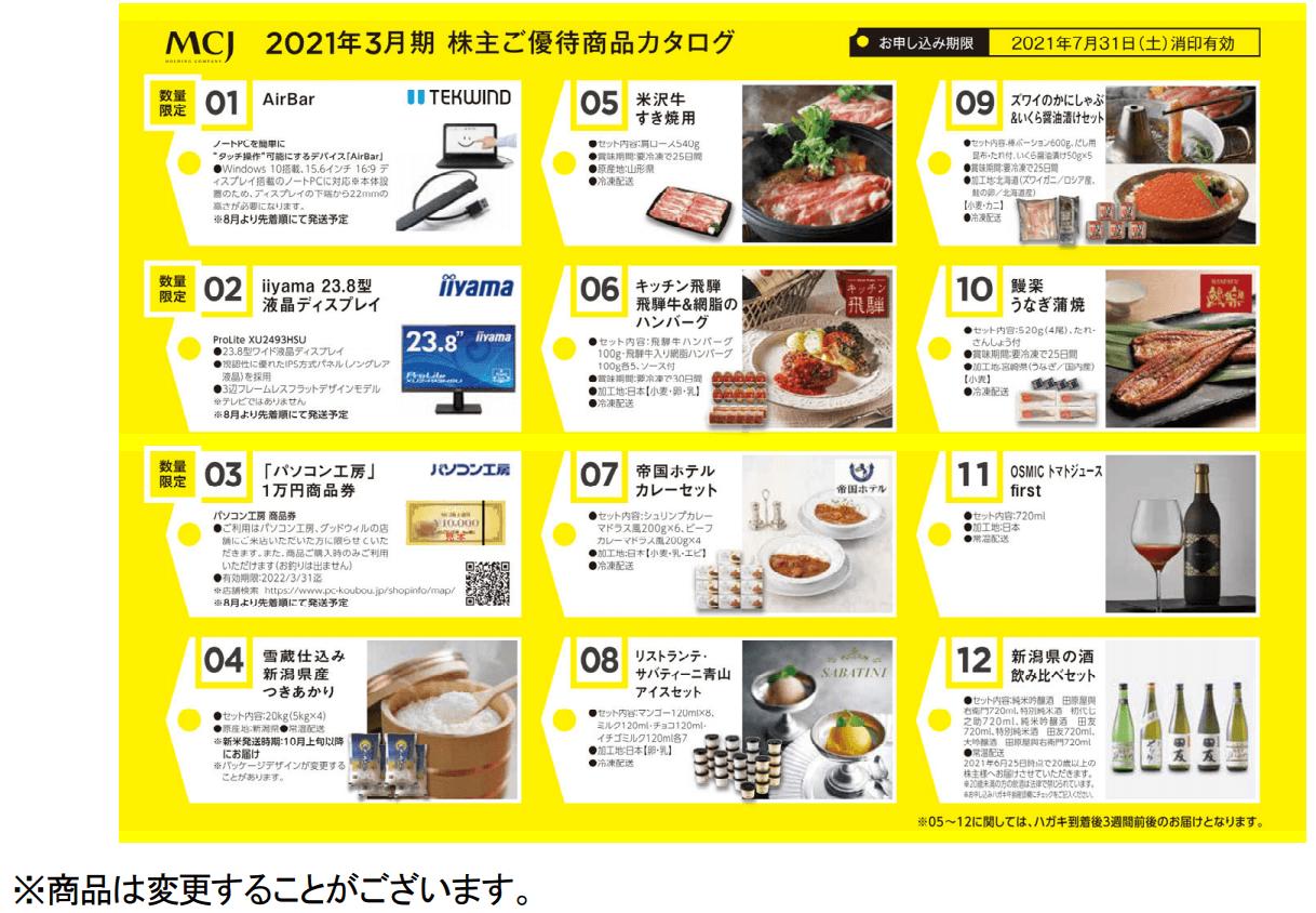 MCJ2020年3月末分優待カタログ