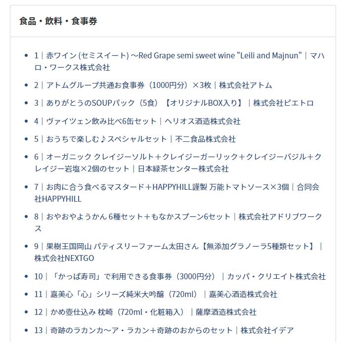 202102PR TIMES株主優待品ラインナップ抜粋その1