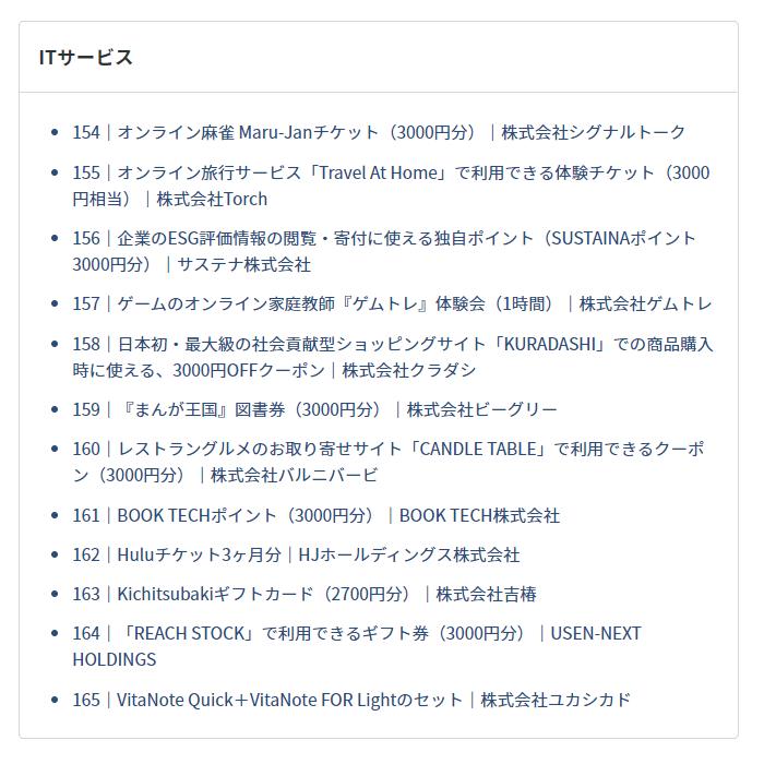 202102PR TIMES株主優待品ラインナップ抜粋その3