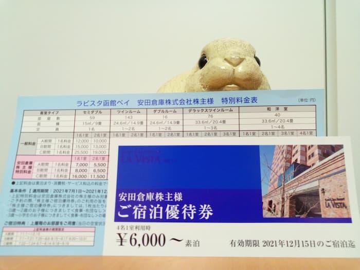 202103安田倉庫株主優待おまけのラビスタ函館ベイ宿泊優待券